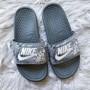 Nike Floral Benassi Athletic Slip-On Slide Sandals